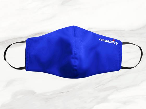 A blue reusable cloth face mask manufactured by CommUNITY Masks. These PPE (Personal Protective Equipment) masks are hospital grade and available for purchase.